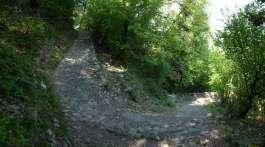 The steep, well made path down