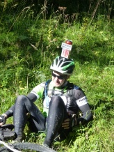 Several riders had beer cans on their heads, in celebration of the Valais being 200 years old, but I think he's letting the side down a bit !