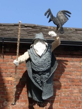 This statue hangs above a café called Wednesdays, which of course derives from Woden's day.