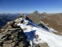 Snowy summit with Sassenaire behind
