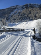 Ski piste over bridge