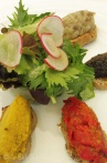 Salad starter including Tapenade, Poivrade and Aubergine caviar