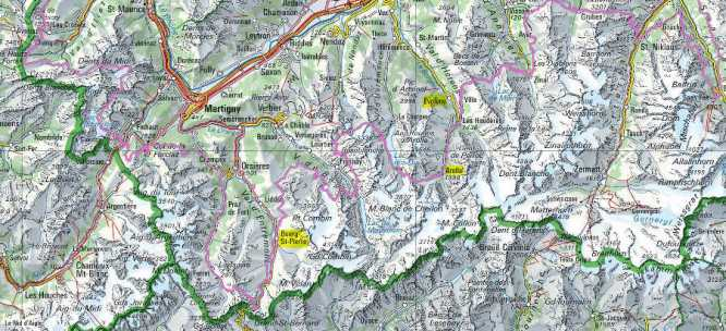 The pink line shows the Swiss National Route 6