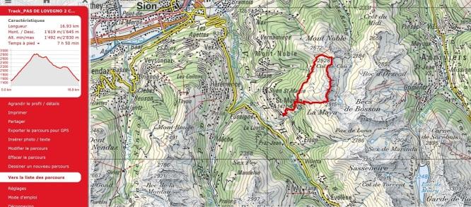 Route Pas de Lovegno to Col de Cou