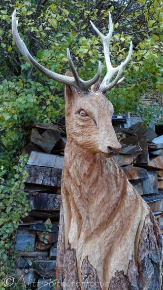 27 Stag wood carving