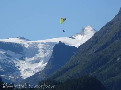 1 Tandem paraglide, Ferpècle glacier and the Dent d'Hérens behind