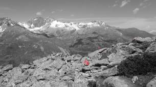 13 Aiguilles Rouge (L) and Mont de l'Etoile (R) - one point colour