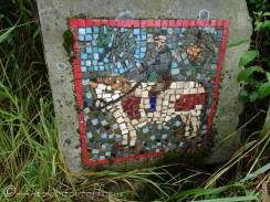 3 Farmer riding bull mosaic