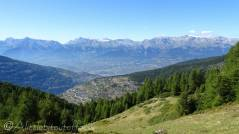 30 Looking over Mase and Vernamiège to Les Diablerets (L) and the Wildhorn (R)
