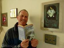 8 Pete with his book next to John Meade Falkner plaque